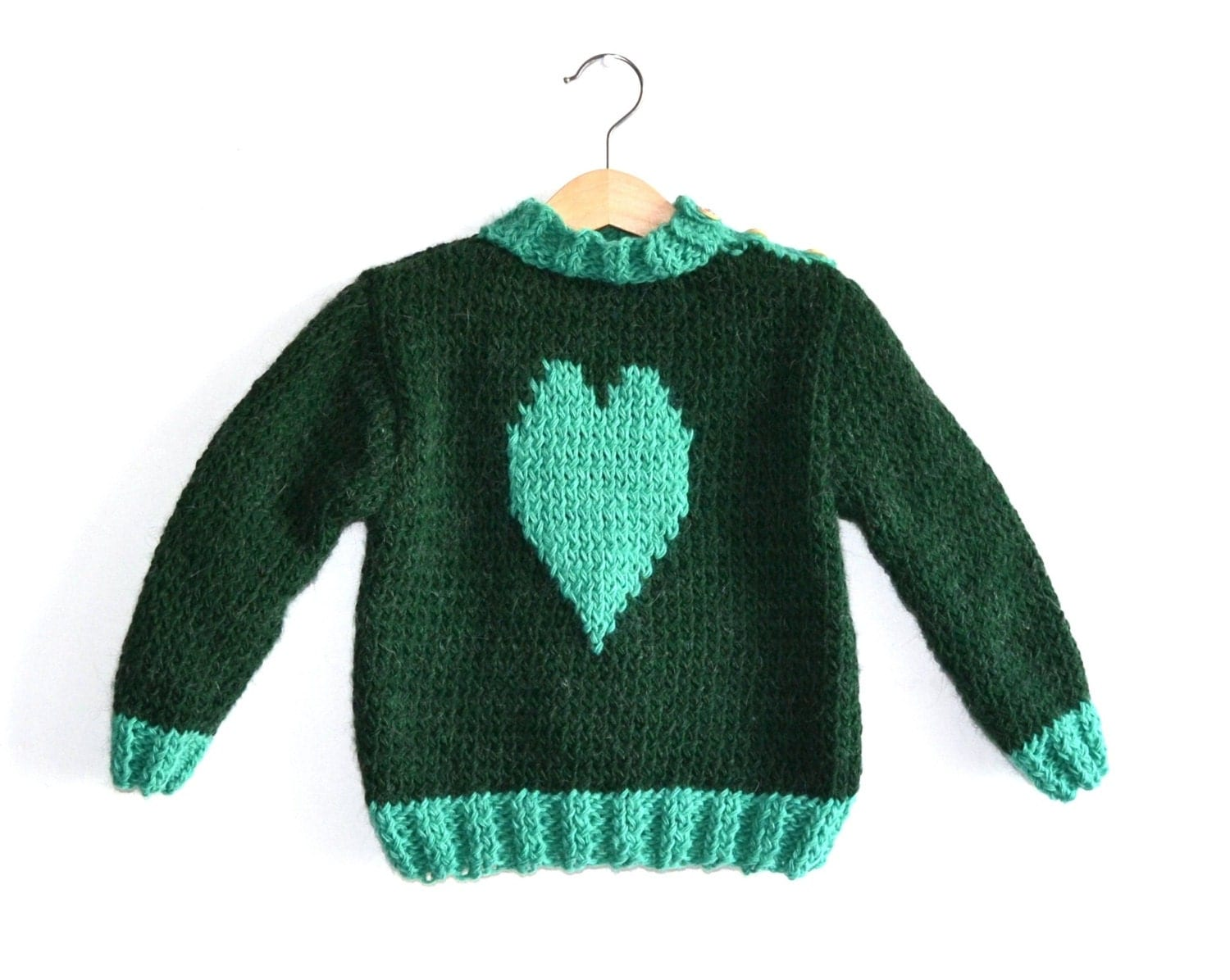 Hand Knitted Sweater Patterns : Hand Knitted Baby Sweater Heart Pattern by NeslisHandcrafts