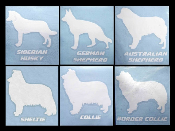 Decal DOG BREEDS... Siberian Husky, German Shepherd, Australian Shepherd, Sheltie, Collie, Border Collie... Free Shipping