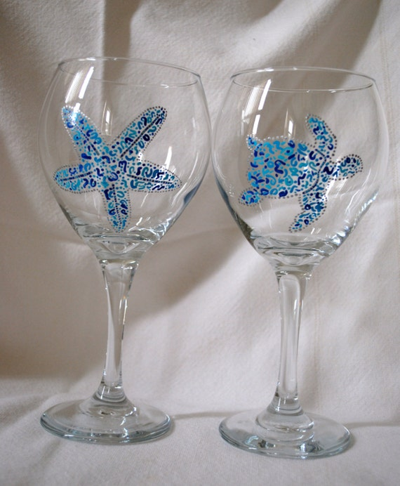 hand painted beach themed wine glasses