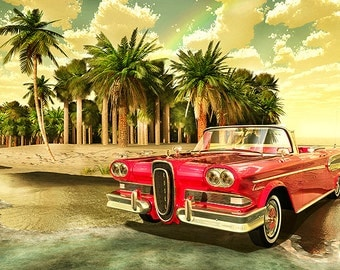 """As Time Goes By, 1958 Edsel Citation Convertible on beach, 8.5"""" X 11"""" wall decor, den Picture."""
