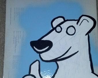 White Cartoon Polar Bear Acrylic Painting on Record Album