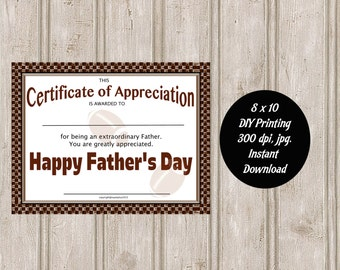 Happy Father's Day Certificate of Appreciation 8 x 10