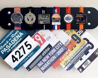 Marathon race bibs display, Marathon Medals display rack