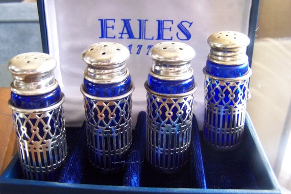 Salt And Pepper Eales 1779 Silver Plate Filigree And Cobalt