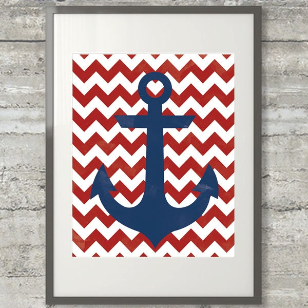 chevron template for walls - nautical chevron anchor red white and blue printable wall art