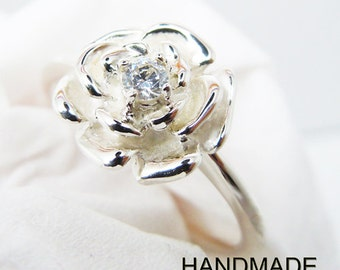 Sterling Silver  Rose Ring Handmade All Size