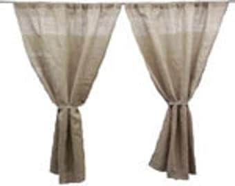 "Two Burlap Curtains - 60"" W x 36"" H"