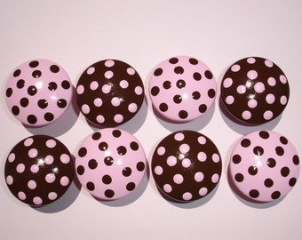 Set of 8 Hand Painted Pink And Brown Polka Dot Dresser Drawer Knobs