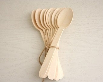 10 Wooden Spoons - wooden disposable cutlery spoons