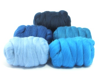 Delta Blue - 5 Colours - Dyed Merino Wool Tops - 250g / 9oz - Wet / Needle Felting - Roving - Spinning