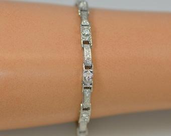 Antique Edwardian Diamond Bracelet 14K White Gold Engraved Bracelet