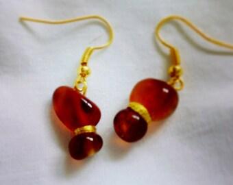 226-Natural Amber Agate Dangle Earrings, Carmel Agate Dangle Earrings, Amber Agate Earrings, Amber Gemstone Earrings, Natural Carmel Agate