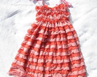 Ruffle Party Dress- Orange & Pink