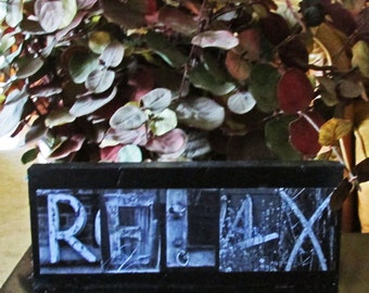RELAX rustic sign letter art sign Photo Letter Art on Wood art letters on wood