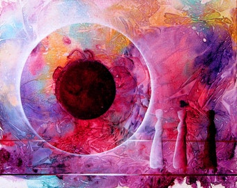"Mystical, dreamy, contemporary acrylic painting.  ""GW Orb 15"".  16"" x  20"". Free U.S. shipping."