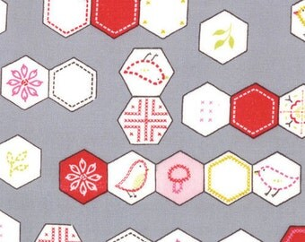 Sew Stitchy Hexagons Fabric by Aneela Hoey for Moda Fabrics 18542 15 Needle (Gray) - 1/2 yard