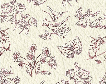 Redworks Fabric - Birds & Floral by Mary Koval for Windham Fabrics 33591-1 - 1/2 yard