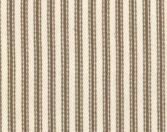 Striped Twill Fabric - Nautical Ticking Stripes by Moda 12128 11T Tan Twill - End of Bolt - 32 Inches