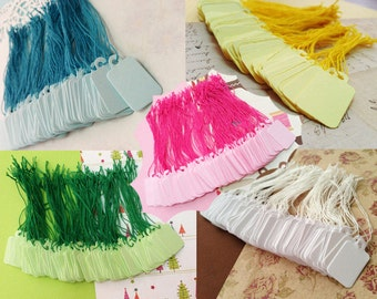 100 Tiny Mix colors favor paper Tags Labels with string