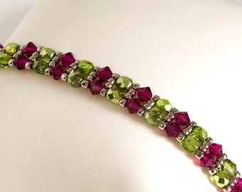 Crystal Bracelet - Beadwoven Bracelet - Seed Bead Bracelet in Fuchsia Crystals, Silver Green Fire Polished Beads, Silver Seed Beads