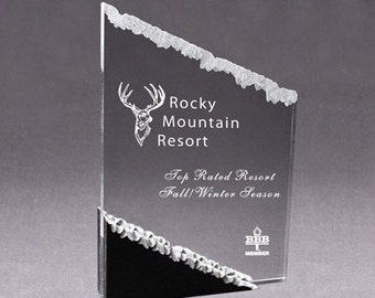 Frosted Mountain Laser Engraved Award 5x6