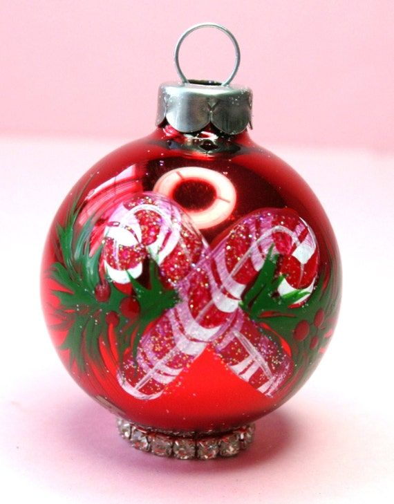 Personalized Candy Cane Ornament - Babys Birth or Birthday or Christmas - Hand Painted Glass Ball Ornament