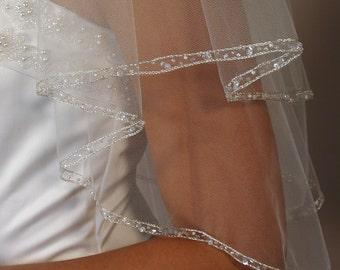 2 layers beaded wedding veil.