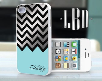 iPhone 4 4s Case - Custom Chevron Blue with Silver Personalized  iP4