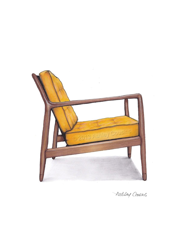 Mid Century Modern Danish Teak Chair Drawing Mustard Yellow
