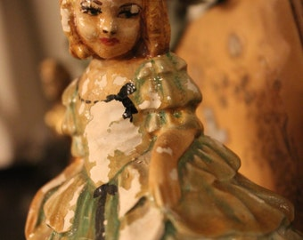 REDUCED Chalkware Girl Figurine - Vintage 1920s