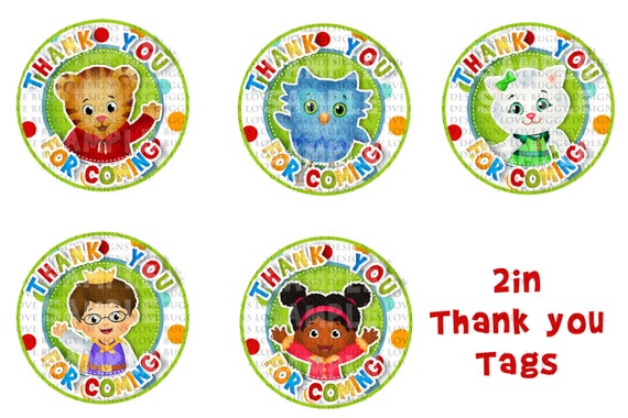 Daniel Tiger Thank You Tags Printable Instant Download