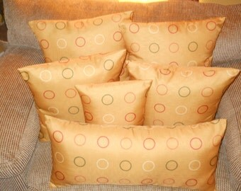Mustard Yellow Pillow Cover, Circles Pillow Cover, 20''x20'' Decorative Pillow Cover, Stylish Modern Pillow