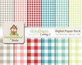 Gingham Digital Papers | Red, Teal & Aqua Paper Pack | Commercial Use Digitals | Scrapbooking Basics | Instant Download | Vintage Style