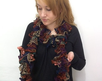 Ruffle Scarf Browns-Purple Hand knitted - IN SALE