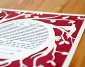 Papercut Ketubah With Pomegranate Tree and Hummingbirds