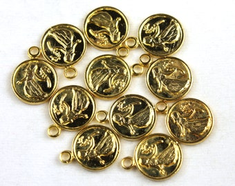 6x Vintage Gold Plated Virgo Charms - M029-B