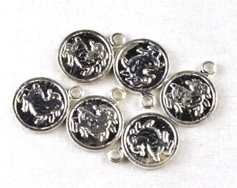 6x Vintage Silver Plated Aries Charms - M029-A