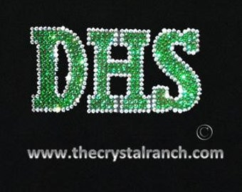 Your School 3 Initials Rhinestone Decal D030