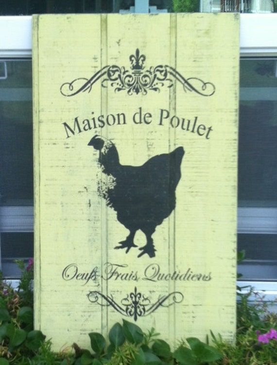 Chicken Coop Sign Decor Rooster Vintage Wood Shabby Chic