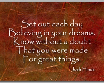 DREAM - BELIEVE CARD - Inspirational Quote about Believing in your Dreams - Also available as a Print - Great Gift Idea (CGRAD2013054)