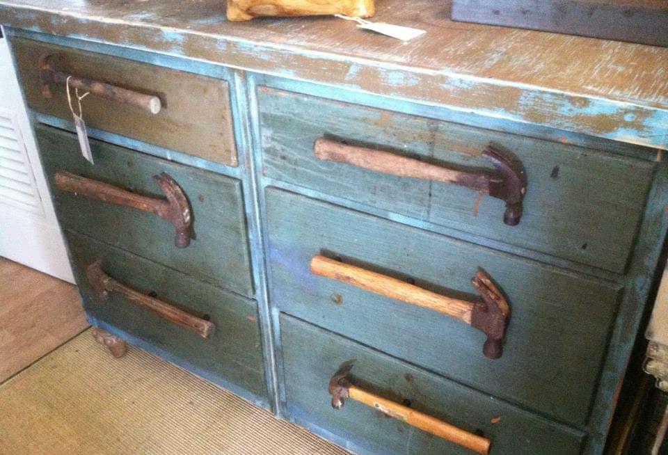 Repurposed Blue Vintage Dresser W Hammer Drawer Pulls