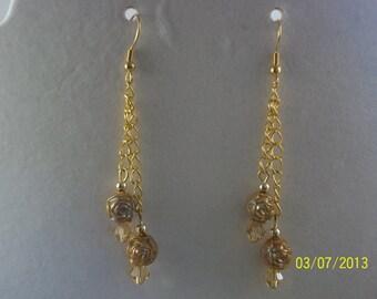 Beige Rose Beads Dangle Earrings