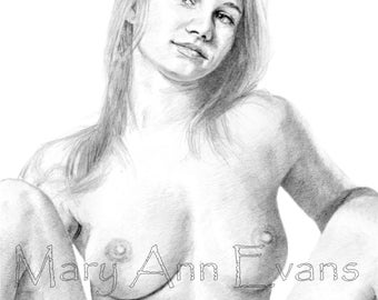 Mary Ann Evans Erotic Female Nude Study (MAEP218) MATURE. Print from original graphite drawing