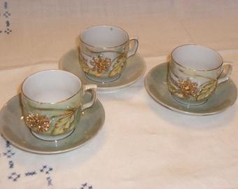 Cups and Saucers - Demitasse - German - Luster - Set of 3 - Vintage