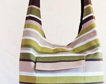 Striped handbag made from linen