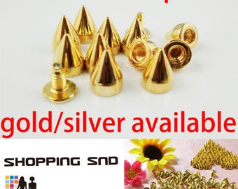 Wholesale 9mm Metal Studs and Spikes Gold Cone Bullet 1/10/30/50/100/500/1000 pcs  FREE SHIPPING