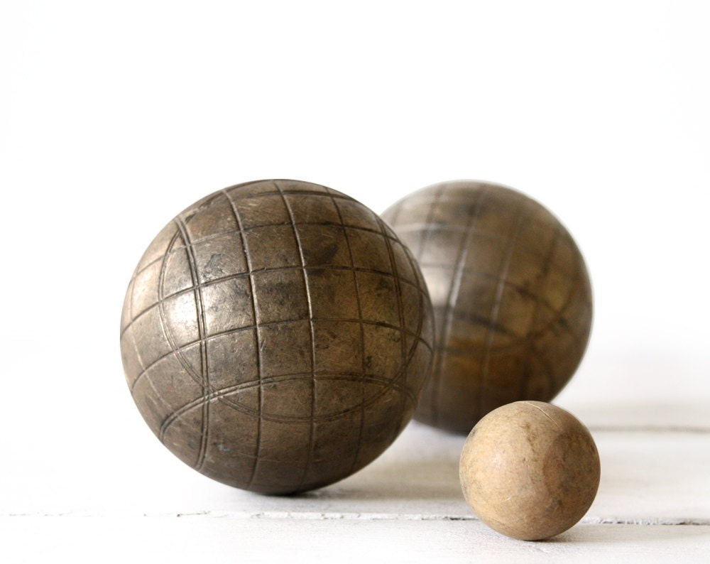 vintage french bronze boules de petanque set. Black Bedroom Furniture Sets. Home Design Ideas