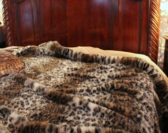 Plush Leopard Bedspread / Comforter / Throw Blanket / Faux Fur / Custom Designer Made USA / Minky Fur Lining / All New Sizes