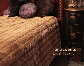 Plush Mink Faux Fur Bedspread / Comforter / Throw Blanket /  Tan Channel Mink / Custom Made in the USA / Lined / All New Sizes