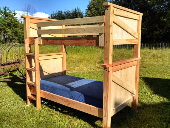 Back to the country twin twin bunk bed stackable solid for Stackable bed plans